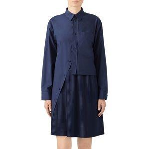Cedric Charlier Navy Asymmetrical Shirt Dress